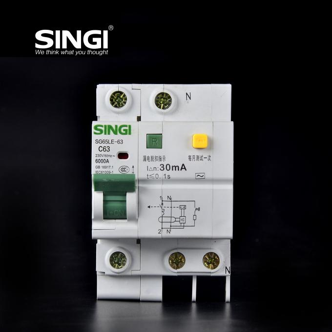 6KA 230V Singi Residual Current Circuit Breaker , mccb circuit breaker