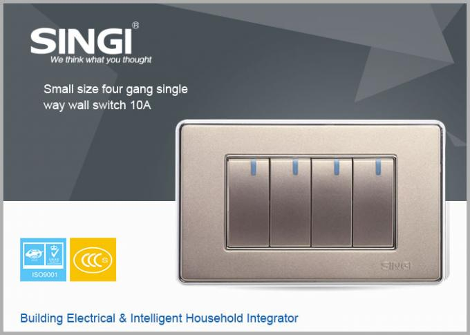 Golden Color Switch Wall Switch Electric Smart Switch With High Quality 4 Gang And Single Way 10 Amp